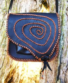 Two in One Handstitched Spiral Purse or Hip Bag--Removable straps & Built-in Belt Sheath--Ammonite Fossil--Spanish Leather--Festival Handbag...