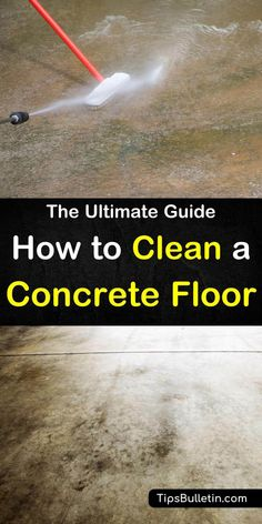10 Brilliant Ways to Clean a Concrete FloorLearn tips and tricks on how to clean concrete floor. The cement floors in your garage, basement and driveways can get dirty. Discover how to make a cleaning Cleaning Concrete Floors, Painted Cement Floors, Cement Stain, Concrete Basement Floors, Concrete Cleaner, Clean Concrete, Concrete Garages, Floor Stain, Cleaning Painted Walls