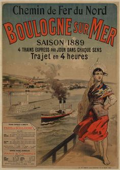 """Affiche ancienne """"Chemin de fer"""" - Boulogne sur mer 1889 centre des Archives de la SNCF"""