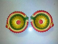 Tricolor Diya Diya Decoration Ideas, Diwali Decorations At Home, Indian Wedding Decorations, Handmade Decorations, Diya Designs, Rangoli Designs Diwali, Easy Rangoli, Diwali Diya, Diwali Craft