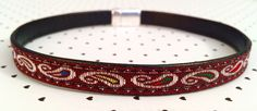 Red Paisley BDSM day collar - can be made with or without bell.