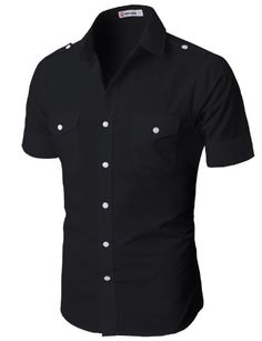 H2H Mens Fashion Button-down Shirts with Shoulder Strap Short Sleeve BLACK