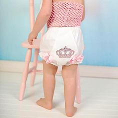 Zilly Bean Pink Rhinestone Crown Bloomers. Little girls pink rhinestone princess bloomers. See More Diaper Covers at http://www.ourgreatshop.com/Diaper-Covers-C205.aspx
