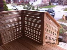 David: Go more basic / smaller on the stairs. We don't have to have the boards exactly like the front porch floor - use horizontal boards to match fence / etc. to create that craftsman touch.