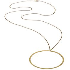 """This rope chain necklace offers a perfect drape for your d�colletage. The flat circular metal features an open center and a twinkling diamond detail that spotlights the shine. Lobster claw closure.  Open Circle Necklace with diamond on 30"""" rope chain.  Circle is approximately 2""""."""