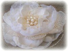 R300  Fabric Flower  Jewelled hair piece by KathleenBarryJewelry, $33.00