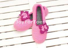 Crochet Slippers Rose Pink Butterfly Custom made ♡ by JoyForToes