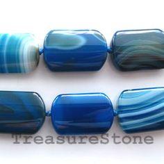 Bead, agate (dyed), blue, 14x23mm puffed.  TreasureStone Beads Edmonton