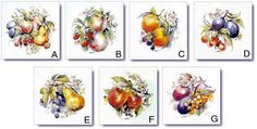 Fruits and Vegetables Designs on Ceramic Tiles