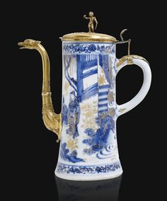 A gilt-metal mounted Chinese blue and white porcelain coffee pot, circa 1640, the mounts, probably Northern European, circa 1680