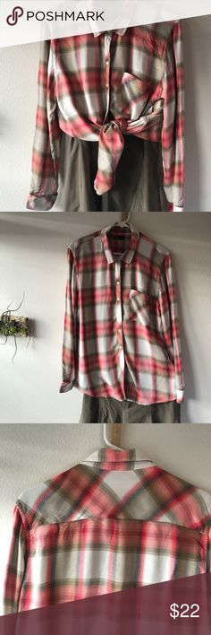 Coral Plaid GAP Button Long-Sleeve Shirt XL Very soft 100% rayon GAP shirt. Hangs beautifully. Coral plaid with chest patch pocket. Long sleeves with two button cuffs.  Looks great with jeans or an olive green skirt (Athleta skirt in photos sold separately in my closet). Modeled picture is of same shirt in slightly different color. XL. Very good condition.  There are a few minor snags. I'm happy to send more pictures if requested. Thanks for looking! GAP Tops Button Down Shirts