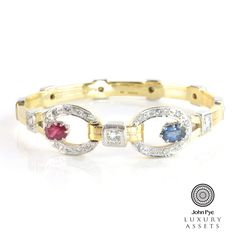 14ct yellow and white #gold #diamond, red & blue stone #bangle