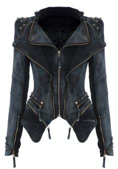 Studded Shoulder Denim Blazer. I love and want this!