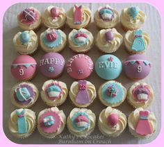 Party themed cupcakes for a 9 year old girl's birthday. So we have party dresses, presents, balloons, bunting and of course cupcakes!