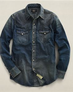 Dark Denim Slim Western Shirt - Slim-Fit  Casual Shirts - RalphLauren.com