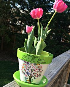 Personalized teacher flower pot custom planter painted and
