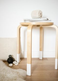 """Add fancy feet to a basic stool.   From Design for Mankind // KIRTSY slideshow """"Things dipped in paint"""""""