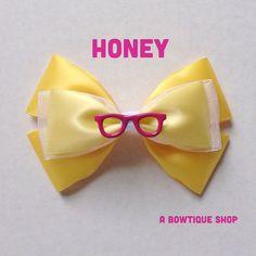 honey hair bow by abowtiqueshop on Etsy