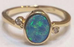 Opal Diamond 14K Ring Size 6.75 Bezel Set Beautiful #SolitairewithAccents