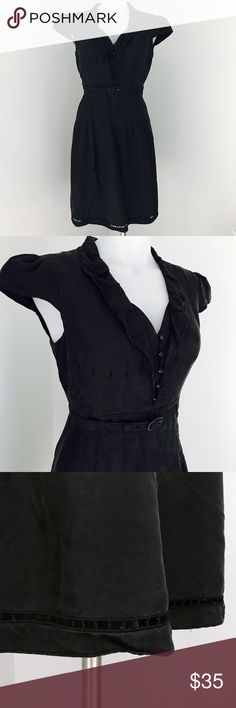 "Tahari Silk Black Belted Dress Beautiful and in excellent used condition, worn a few times and no flaws. Fully lined, a few buttons in the front, ruffled neckline, pleated and matching waist belt. Measurements when laid flat: armpit to armpit is 17"", waist is 15"", length from shoulder to hem is 36"". Tahari Dresses"