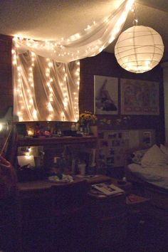 my dorm room lights, fabric, and chinese paper lantern :) String Lights In The Bedroom, Room Lights, Bed Lights, Hanging Lights, Teenage Girl Bedroom Decor, Bedroom Ideas, Emo Bedroom, Dorm Design, Design Bedroom