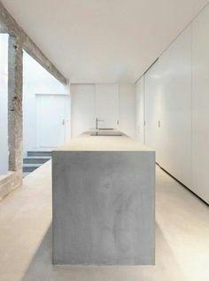kitchen island in concrete