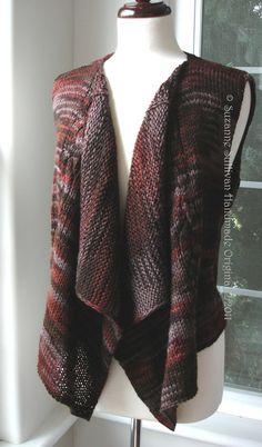 PDF knitting pattern Vest, Drape Front