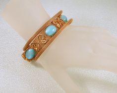 Vintage Bracelet Mesh Heart Blue Art Glass by CharmedCollectibles, $35.00