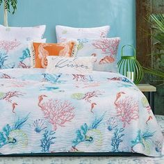 Greenland Home Fashions Sarasota Quilted Reversible Coverlet Set Aqua Bedding, Coastal Bedding, Coastal Bedrooms, Luxury Bedding, Ocean Bedding, Tropical Bedding, Beach Bedding, Bedroom Themes, Bedroom Decor