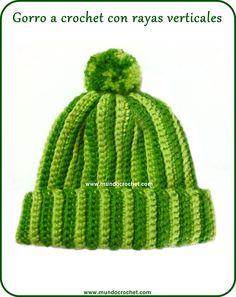 Gorro a crochet rayas verticales. Patrón gratis y tutorial detallado.