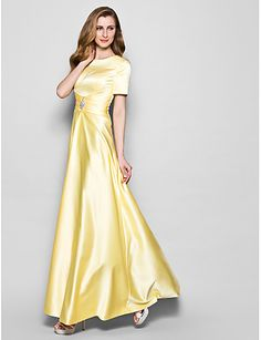 A-Line Jewel Neck Floor Length Satin Mother of the Bride Dress with Crystal Detailing Sash / Ribbon Ruching by LAN TING BRIDE®