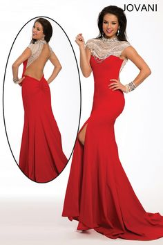 Cap Sleeve Jeweled Top Fitted Red Backless Prom Dress