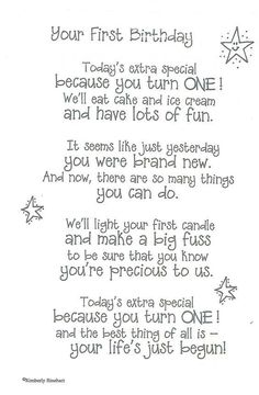 Need Happy Birthday Poems for your husband, wife, brother or sister? Find funny, short happy birthday poems for your friend, mom or daughter right here. 1st Birthday Quotes, Baby 1st Birthday, First Birthday Parties, Birthday Verses, 1st Birthday Cards, Happy 1st Birthday Wishes, 1st Birthday Message, Birthday Greetings, First Birthday Crafts