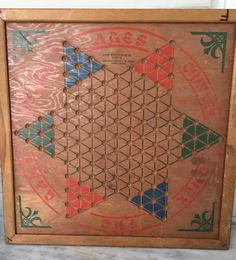 vintage Chinese Checkerboard, Brown Manufacturing Co, 1937, wooden board game, wall hanging by MotherMuse on Etsy