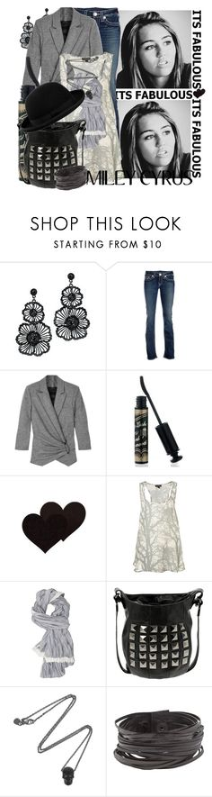 """Miley Cyrus"" by emilyliz ❤ liked on Polyvore featuring Religion Clothing, Azaara, True Religion, McQ by Alexander McQueen, Shiseido, Peachoo + Krejberg, Mischa Barton Handbags, Alexander McQueen, Natalia Brilli and Dunn"