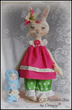 TILDA Bunny and baby B Easter Spring OOak by OCRPrimitiveArts, $60.00