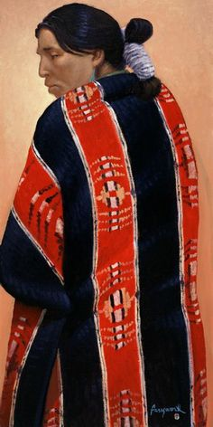 Navajo Lady in Black and Red Pendleton (oil) by John Farnsworth