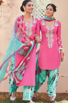 Pink & Blue Pure Cotton Satin Unstitch Patiala Suit