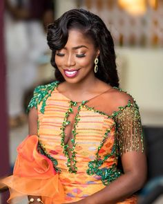 Congrats to the blessed bride Nana Serwaa 💕 MAKEUP Hairstyle Accessories Photography Kente gown African Wear Dresses, African Wedding Dress, African Attire, Ghana Traditional Wedding, Traditional Wedding Dresses, Kente Dress, Kente Styles, African Inspired Fashion, Africa Fashion