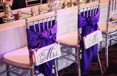 Chair sash + Mr. & Mrs. signs - so cute!
