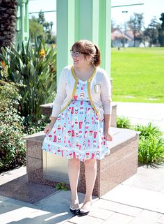Modcloth popsicle print dress and thrifted cardigan