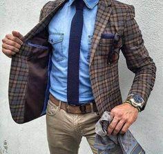 hot mens brown jacket over a blue shirt