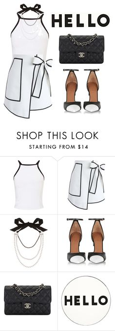 """""""Black&White"""" by ellenfischerbeauty ❤ liked on Polyvore featuring Miss Selfridge, Chicwish, Lanvin, Givenchy, Chanel, Lisa Perry, blackandwhite, HowToWear, waystowear and polyvorefashion"""