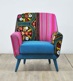 Items similar to Patchwork armchair with Suzani and purple velvet fabrics on Etsy Home Goods Furniture, Funky Furniture, Furniture Covers, Purple Sky, Funky Bedroom, Patchwork Sofa, Blue Armchair, Guest Bedrooms, Handmade Design