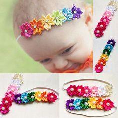 Cute Bela Flor Colorida seis Banda de Cabelo Bebê Menina Infantil Criança Cetim Banda de Cabelo