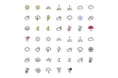 47 Weather icons Pack includes: Adobe Illustrator file containing artboards. Invidual SVG files for each icon. Invidual Png files for each icon in different 4 Weather Icons, Freelance Graphic Design, Icon Pack, Brochure Template, Adobe Illustrator, Illustration, Templates, Printable, Symbols
