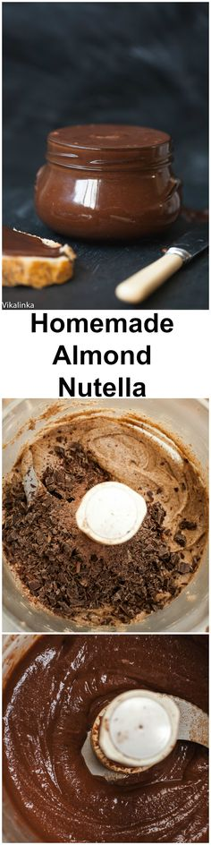 Almond Nutella (no sugar)-all natural ingredients, heavy on nuts rather than sugar. So delicious!Homemade Almond Nutella (no sugar)-all natural ingredients, heavy on nuts rather than sugar. So delicious! Healthy Desserts, Just Desserts, Delicious Desserts, Dessert Recipes, Yummy Food, Tasty, Delicious Chocolate, Do It Yourself Food, Kolaci I Torte