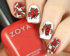 Canada Day Nails used Bundle Monster BM-H11 (multiple leaves) and MoYou London Mother Nature -07 (single leaves) and Zoya Sooki to made stamping decals. ;