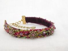 Cuff fiber bracelet narrow width--Gypsy by pdlugos on etsy