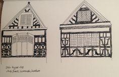 August, Tudor shop fronts in Nantwich, Cheshire Shop Fronts, Tudor, Drawings, Mini, Sketches, Sketch, Drawing, Portrait, Shop Windows